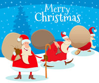 Christmas design with cartoon Santa Claus and gifts
