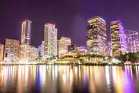 Miami downtown skyline under bright night lights