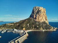 Ifach rock in Calpe resort town. Spain
