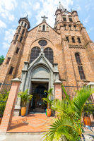 view from below of the Sacred Heart church of Gesu Medellin