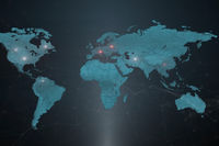 A world map with symbolic locations of the company's servers