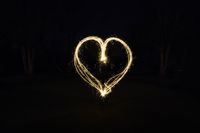 heart shape light painting with sparklers