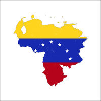 Venezuela country silhouette with flag on background, isolated on white