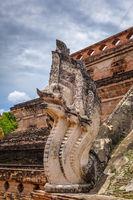Dragon statue, Wat Chedi Luang temple big Stupa, Chiang Mai, Thailand