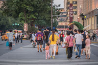 People on a zebra crossing in the city of Xian