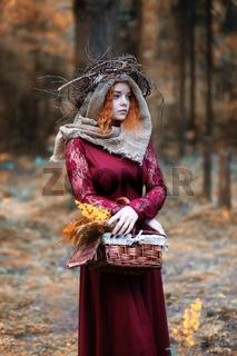 Fortune-teller conducts a ritual autumn