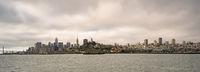 Long Panoramic View San Francisco Fishermans Wharf City Skyline