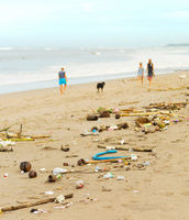 polluted plastic waste beach people