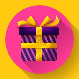 Gift box Icon flat Vector