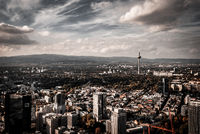 Frankfurt (germany) aerial view with clouds