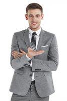 Business man hold something