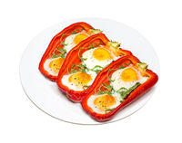 Half sweet paprika baked with an egg.