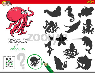 educational shadows game with octopuses