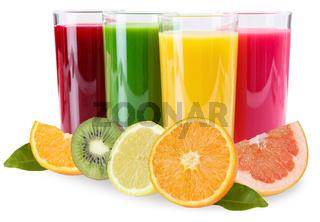 Saft Smoothie Smoothies im Glas Früchte Orangen Fruchtsaft isoliert freigestellt Freisteller