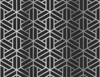 Silver geometric figures on black, seamless pattern