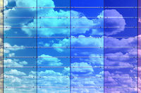 Colored wall surface with sky reflection, 3d illustration