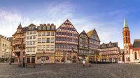 Frankfurt Germany, panorama sunrise city skyline at Romer Town Square