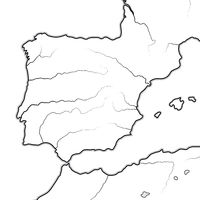 Map of The SPANISH Lands: Spain, Portugal, Catalonia, Iberia, The Pyrenees. Geographic chart.