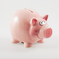 Pink piggy bank isolated on white background. Finance and business concept.
