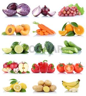Früchte Obst und Gemüse Sammlung Apfel Tomaten Orange Bananen Möhren Farben frische Freisteller freigestellt isoliert