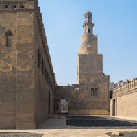 Minaret Ibn Tulun Mosque with helical outer staircase, Medieval Cairo, Egypt