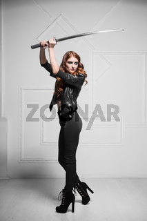 Stylish red-haired woman
