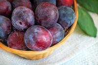 Large ripe plums in a wicker basket.