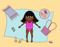 Beautiful young girl tanning. Cartoon vector illustration. African child.