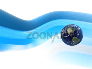 3D Earth with Flowing Background