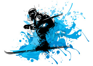 Silhouette of a skier whit snow. Vector illustration