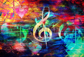 beautiful abstract colorful collage with music notes and the violin clef and heart.