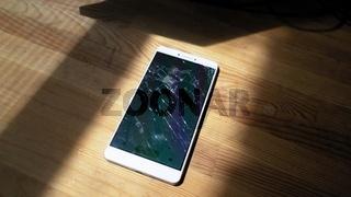 Xiaomi MI Max broken phone with dark dialing menu on display