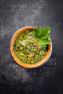 Traditional Columbian chimichurri sauce aji criollo with chili