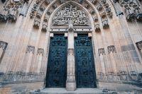 St. Vitus cathedral door in Prague Czech Republic