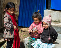 Three Nepali girls in Lamjung district, Nepal