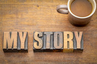my story word abstract in vintage wood type