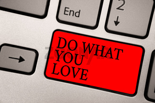 Conceptual hand writing showing Do What You Love. Business photo text Make enjoyable things do activities with motivation Greyish silver keyboard with red color button black color texts.