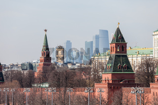 Grand Kremlin Palace Walls and Towers and modern Moscow International Business Center (MIBC) skyscrapers at Russia Moscow City