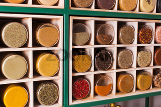 Spices sold in eco shop with zero waste concept