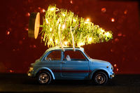Car delivering Christmas or New Year tree