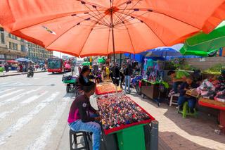 Bogota stalls in Jimenez of Quesada avenue in  Santa Ines district