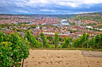 Old town of Wurzburg view from the vineyard hill