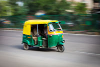 Indian auto (autorickshaw) in the street. Delhi, India