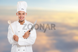Cook cooking education training young man male job copyspace copy space