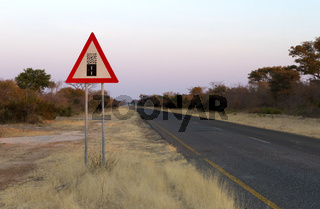 Sign gravel road - Caution the end of a good road