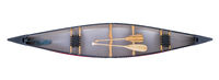canoe with paddles - top view