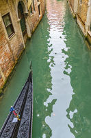 Gondola Crossing Small Canal, Venice, Italy