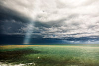 Thunderstorm weather over the sea