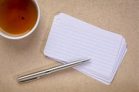 blank index cards with tea