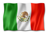 Mexican flag isolated on white
